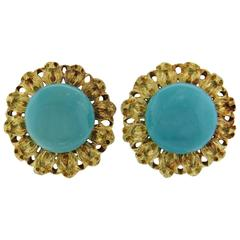 Mario Buccellati Turquoise Gold Earrings