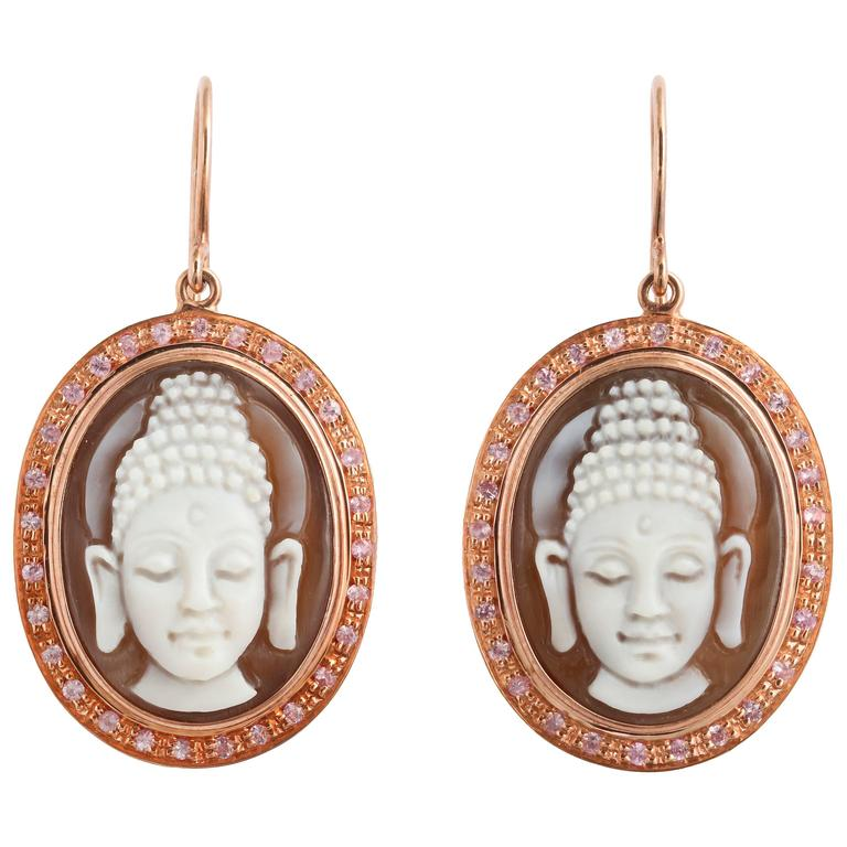 """Amedeo """"Buddha"""" Cameo Earrings with Sapphires"""