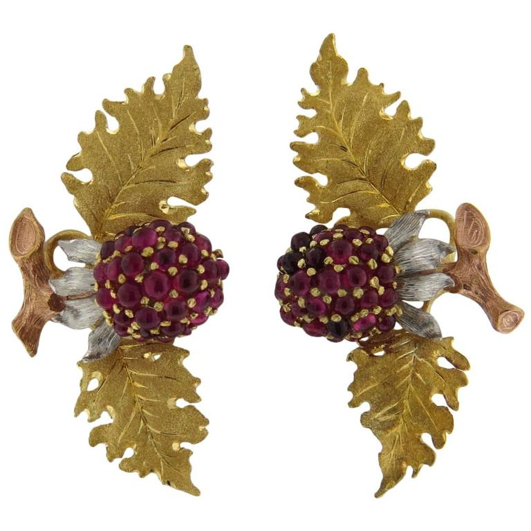 Buccellati Tri Color Gold Ruby Leaf Berry Earrings