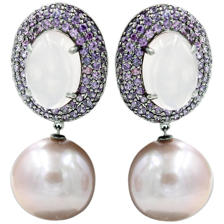 Pink Sapphire F/W Pearls Rose Quartz Earrings For Sale