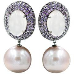 Pink Sapphire F/W Pearls Rose Quartz Earrings