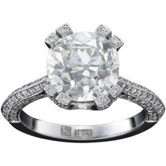 Spectacular Cushion Cut Solitaire Diamond Gold Ring