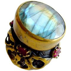 Labradorite Garnet Brass Statement Ring