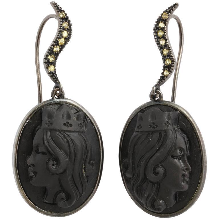"Amedeo ""Reale"" Black Lava Cameo Earrings"
