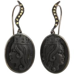 "Amedeo ""Reale"" Black Lava Cameo Earrings"