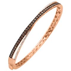 Brown and White Diamond Gold Bangle Bracelet