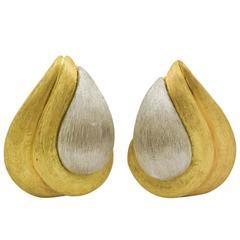 1980s Henry Dunay Sabi Gold Platinum Earrings