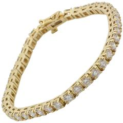 Yellow Gold Line 6.50 Carats Diamonds Bracelet