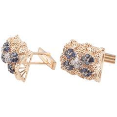 Sapphire Diamond Textured Gold Cufflinks