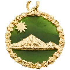 Jade Gold Mountain Scene Charm