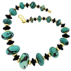 Graduated Blue Turquoise with Interesting Black Matrix and Black Onyx Necklace