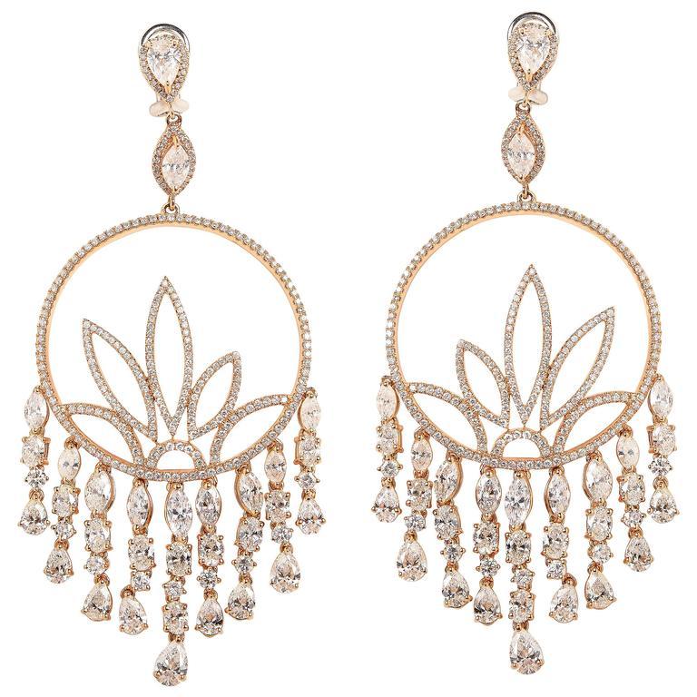 Diamond Gold Chandelier Earrings