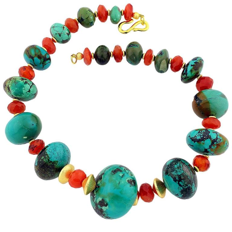 Natural Turquoise and Carnelian Necklace