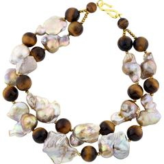 Tiger Eye & Baroque Pearl Double Strand Choker Necklace