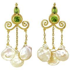Crevoshay Handmade Peridot Pearl Gold Earrings