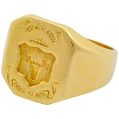 Hand Engraved Gold Crest Ring with Engraved Image of a Stag
