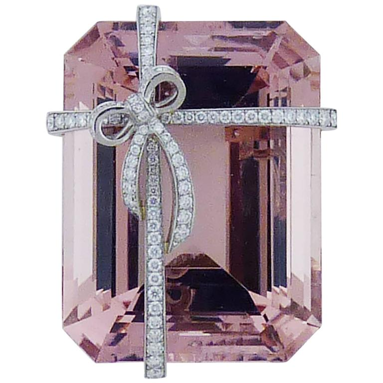 Tiffany & Co. Morganite Diamond Platinum Brooch  For Sale