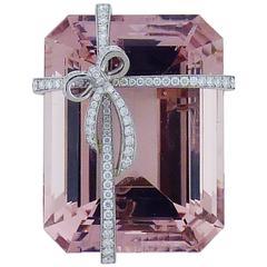 Tiffany & Co. Morganite Diamond Platinum Brooch