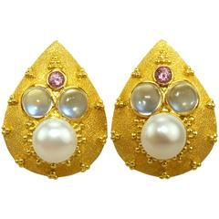 Crevoshay Handcrafted Tourmaline Pearl Moonstone Gold Earrings