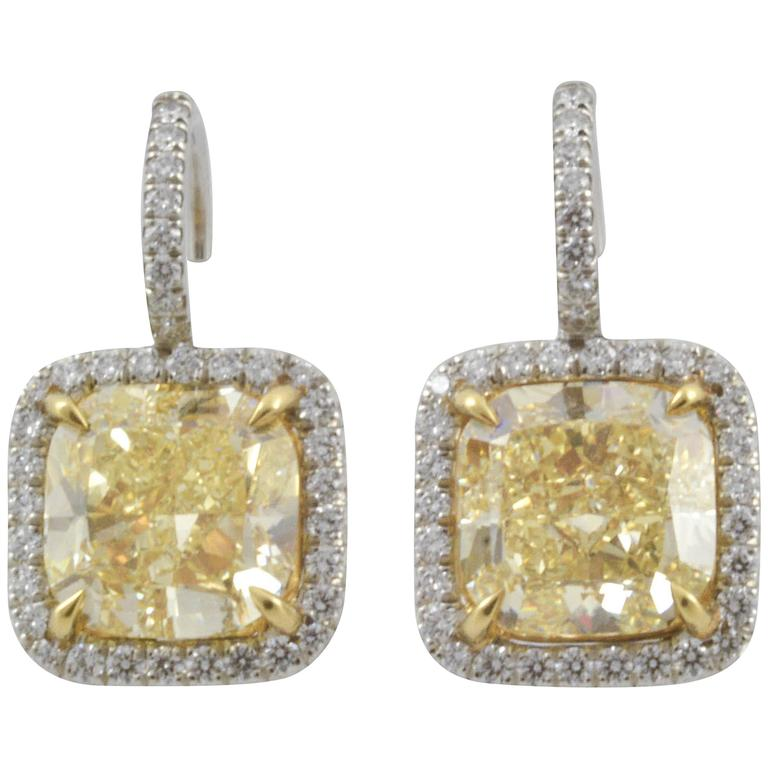 5.1 Carat Fancy Yellow Cushion Cut Diamond Gold Earrings