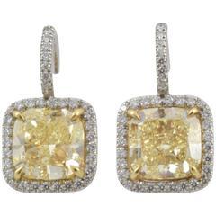 5.1 Carat Fancy Yellow Cushion Cut Diamond Gold Earrings