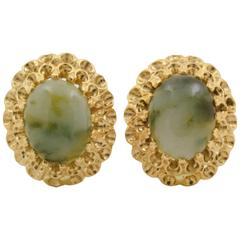 Cabochon Jade Gold Ruffle Clip Earrings