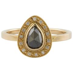 0.30 Carat Pear Shaped Brown and Rose-Cut Diamond Gold Bezel Ring