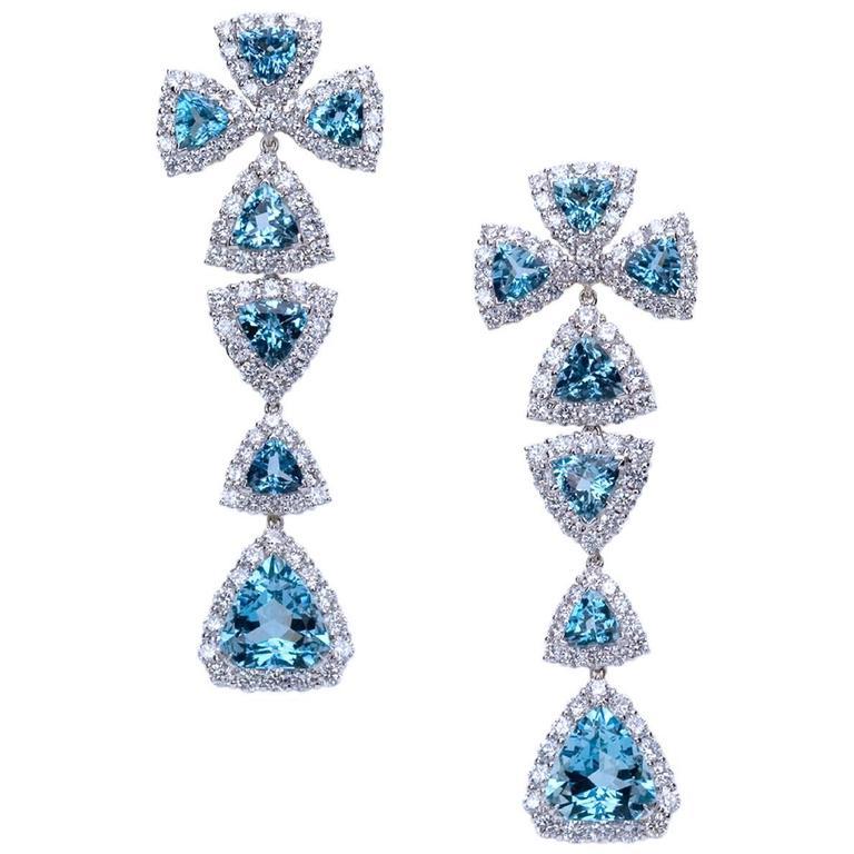 """Samuel Getz"" Detachable White Gold Aqua and Colorless Diamond Drop Earrings"
