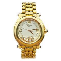 Chopard Yellow Gold Diamond Happy Sport Wristwatch