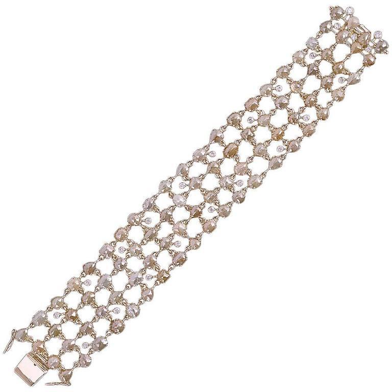Ice Diamond Gold Flexible Bracelet