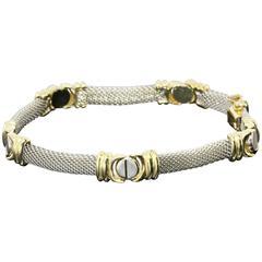 Two Color Gold Mesh Screw Accent Love Bracelet