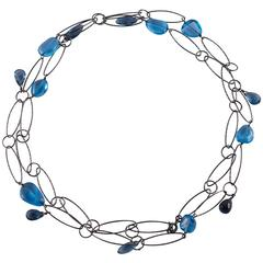 Mixed Tanzanites Kyanite Oxidized Sterling Silver Oval Link Necklace