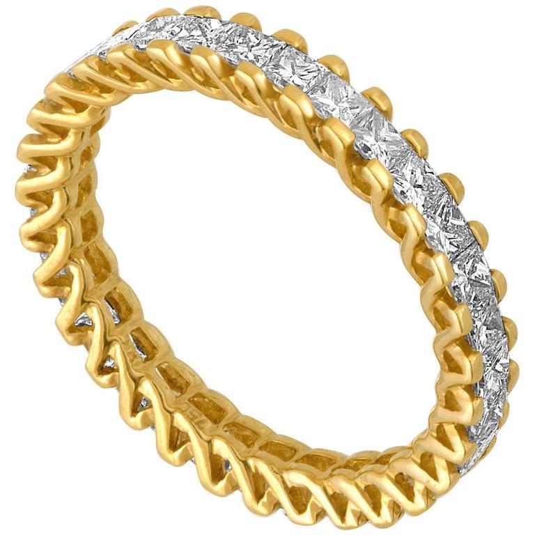1.85 Carats Princess Cut Diamond Eternity Band Ring 1