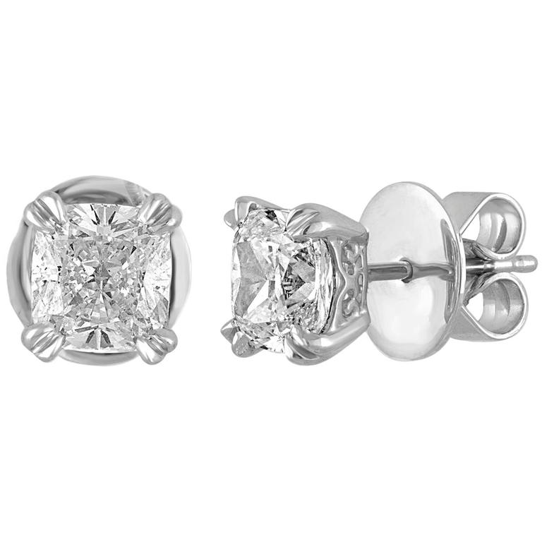 GIA Certified 2.46 Carats G VS Cushion Diamond Gold Stud Earrings