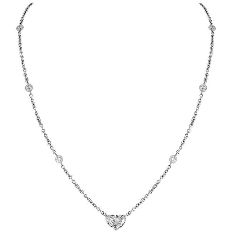 GIA Certified 1.72 Carats J VS2 Butterfly Cut Diamond Gold Necklace