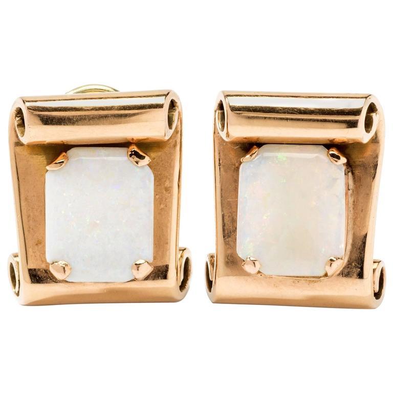 White Opal Gold Clip-On Earrings