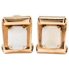White Opal Gold Clip-On Earrings
