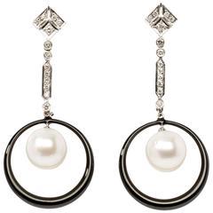 Enamel Pearl Diamond Gold Dangle Earrings