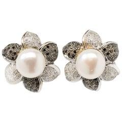 Flower Shape Pearl Diamond Stud Earrings