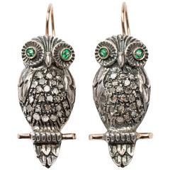 Emerald Diamond Silver Gold Stud Owl Earrings