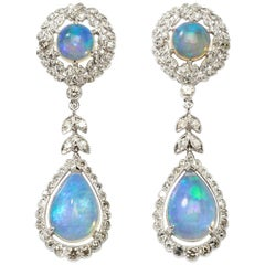 Opal Diamond White Gold Dangle Earrings