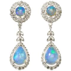 Opal Diamond White Gold Dangle Earrings