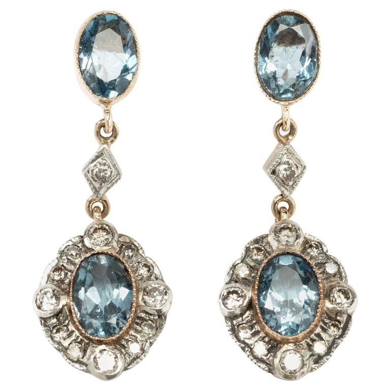 Aquamarine Diamond Dangle Stud Earrings