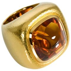 Colleen B. Rosenblat Cabochon Citrine Hammered Gold Ring