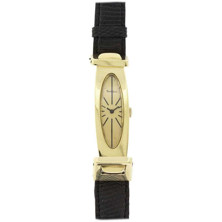Bueche Girod Yellow Gold Elongated Wristwatch