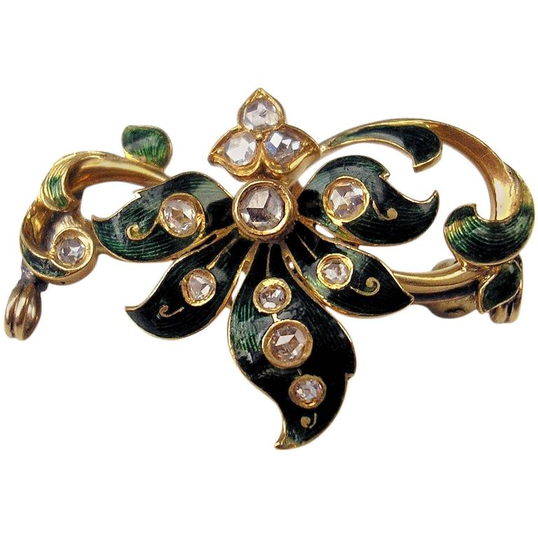 1900s Art Nouveau Enamel Diamond Gold Brooch Vienna Austria