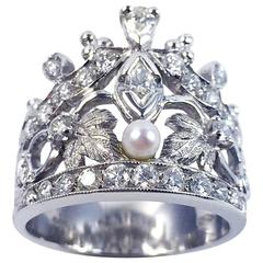 Pearl Diamond Gold Crown Ring