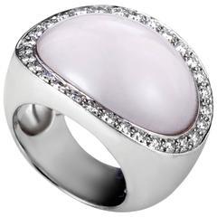 Van Cleef & Arpels Pink Quartz Diamond Gold Ring