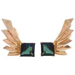 Tiffany & Co. Retro Tourmaline Gold Earrings