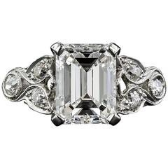 Art Deco 2.03 Carat GIA Cert Emerald Cut Diamond Engagement Ring